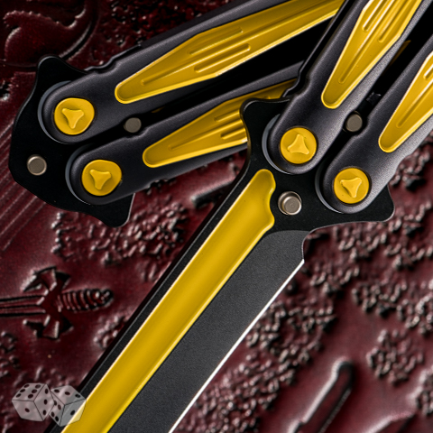 Microtech Tachyon III Balisong Knife 173-1BM Black Yellow